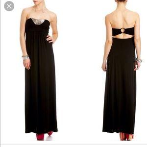 Black strapless embellished dress